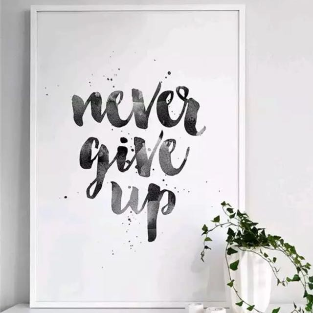 [Sellabrations] Never Give Up Decorative Wall Portrait