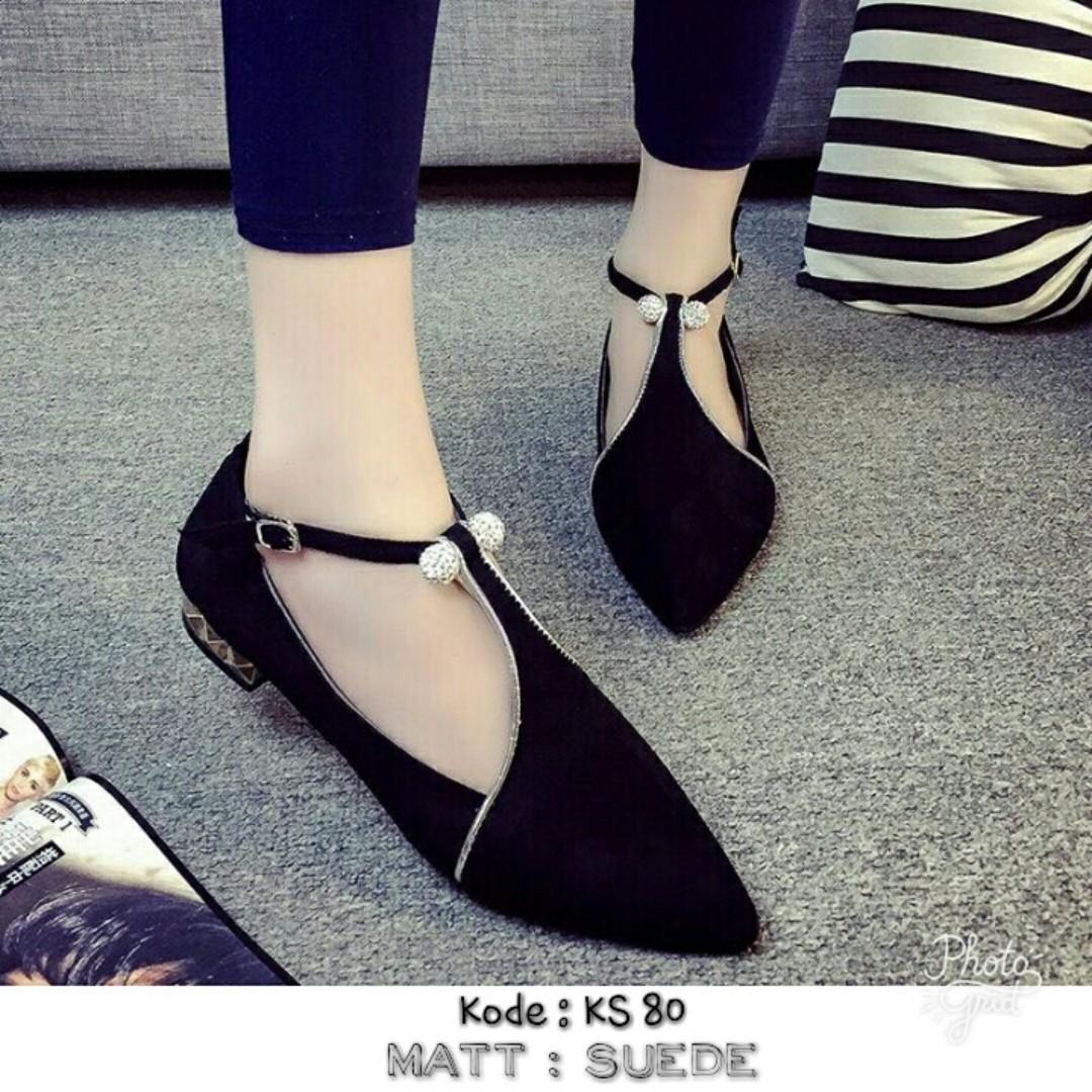 Sepatu Wanita Flat Shoes Ks 80 Olshop Fashion Di Karet Suede Carousell