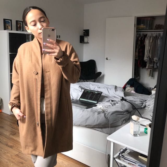 Simons-Twik Camel Cocoon Coat(100% Wool)