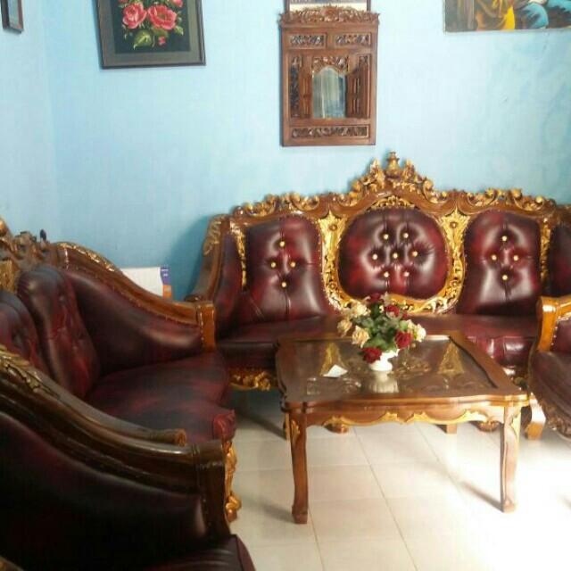 Sofa kayu jati ukir asli