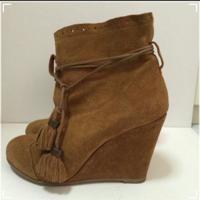 Stardivarius Leather Ankle Boots with Tassels