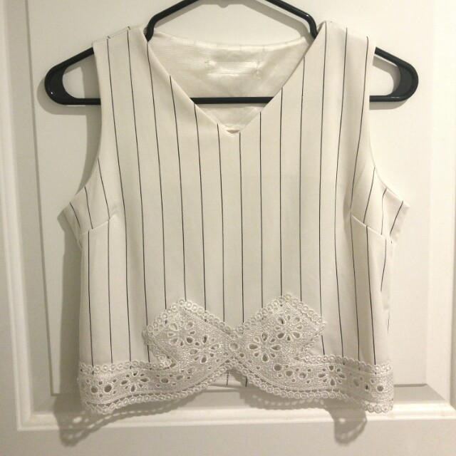 Striped lace detail sleeveless top