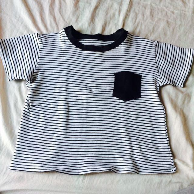 Stripes with Pocket Crop Top
