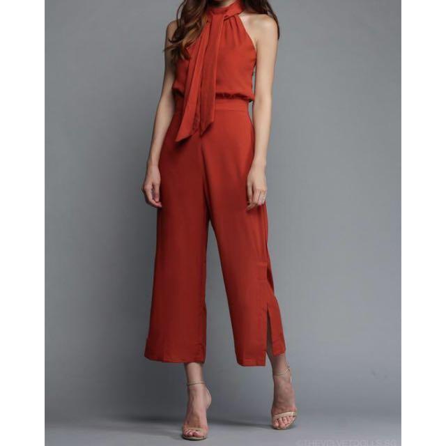 b5253dcfaea1b Thevelvetdolls - Marissa Keyhole Jumpsuit in Rust Orange, Women's ...