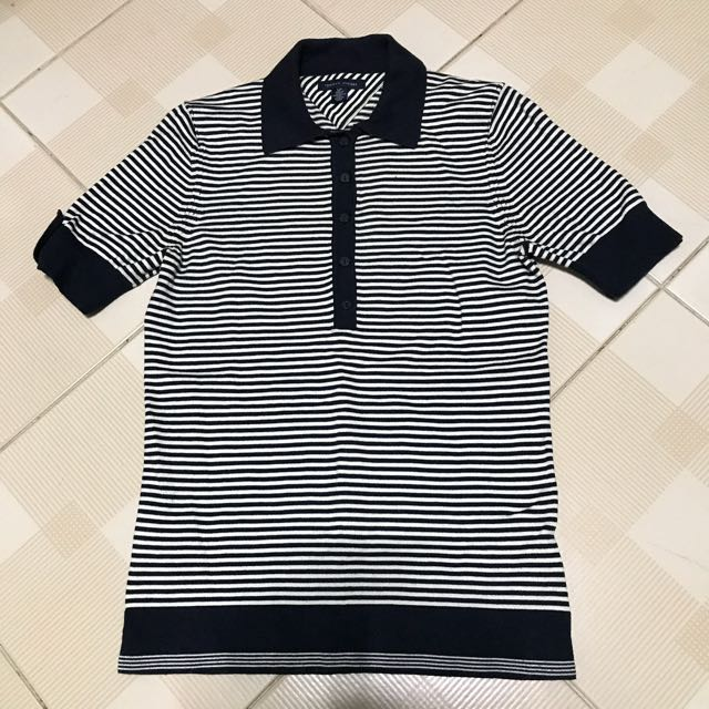523d5f6f TOMMY HILFIGER Women's Navy Blue Striped Polo T-shirt (Size S ...