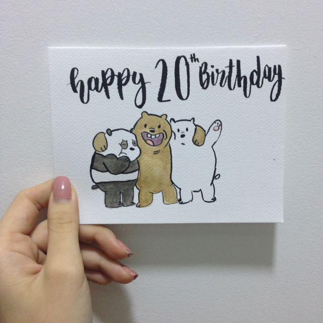 We bare bears custom birthday card design craft handmade goods photo photo photo photo bookmarktalkfo Images