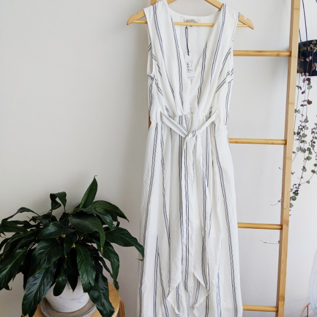 White striped high low summer dress