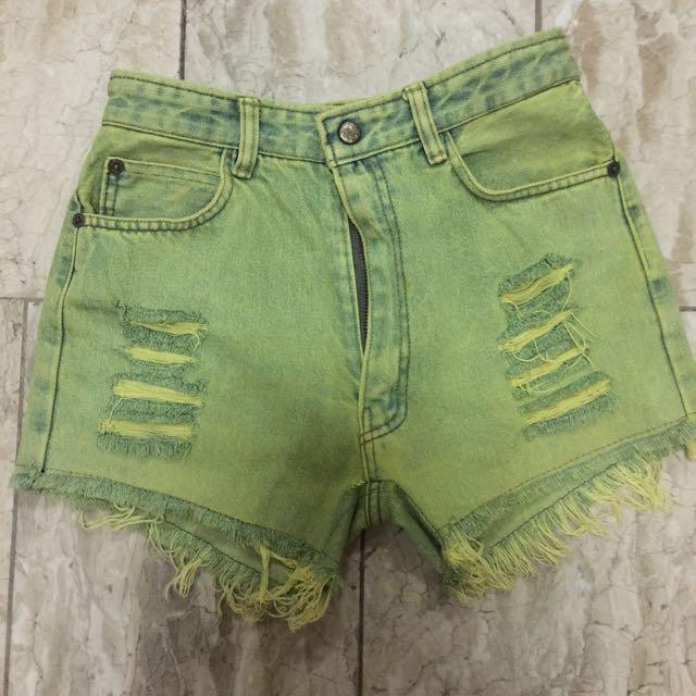 Yellow acid wash ripped shorts