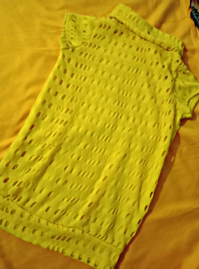 Yellow long turtle neck top