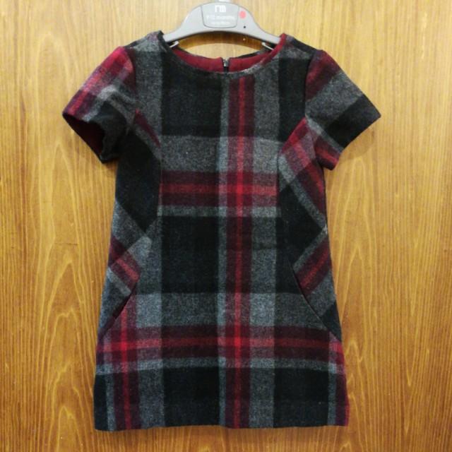 Zara girls 混毛料背心裙。3-4歲,可水洗。