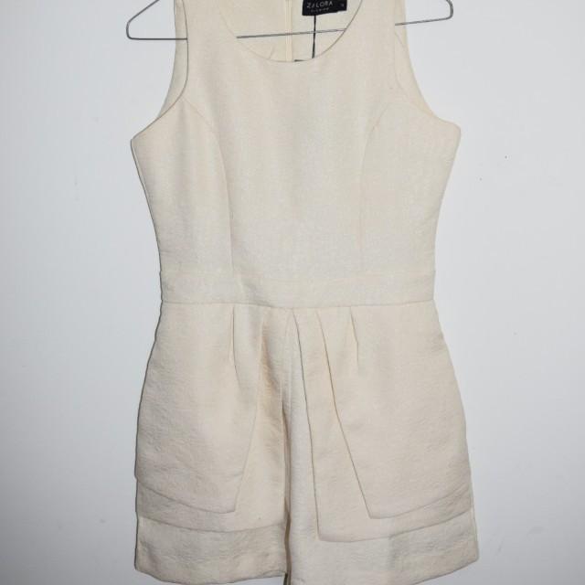 Zalora Cream Jumpsuit