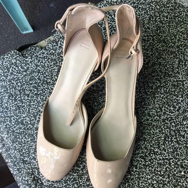 Zara block heels, nude