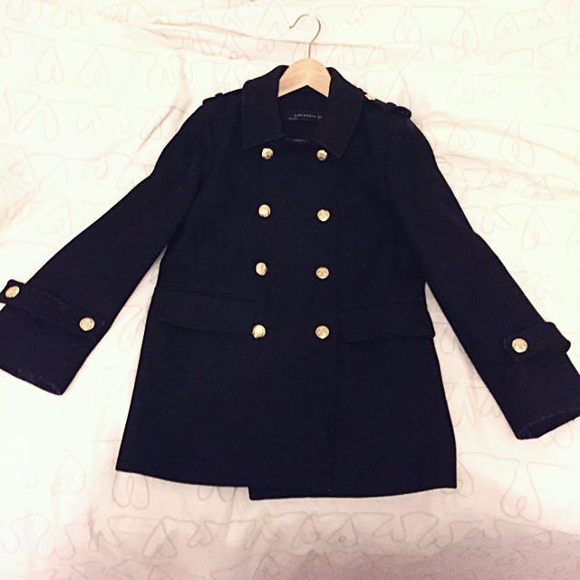 Zara double breasted coat XS