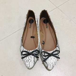 Solemate White Snakeskin Flat Shoes