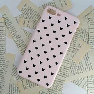 iPhone 7 Plus Black Hearts Pink Matte Hard Slim Case