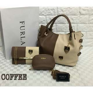 Furla 3 in 1 Bags Coffee Color
