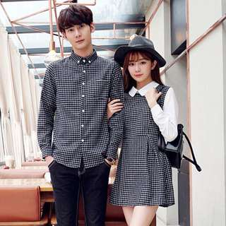 (2pcs. Include Men's long sleeve and Ladies dress) COUPLE WEAR LONGSLEEVE AND COLLAR DRESS