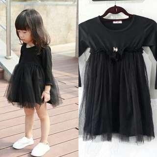 4-5 girls: black long sleeve tutu tulle dress