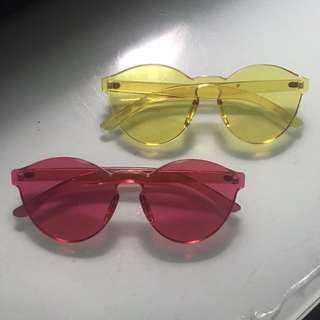 JELLY SUN GLASSES PINK DAN YELLOW