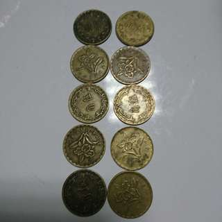 50-60年代五角硬幣10枚合售