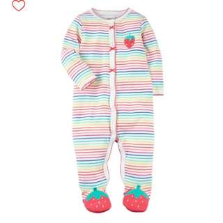 BN Carter's Snap-up Strawberry Cotton Sleep & Play