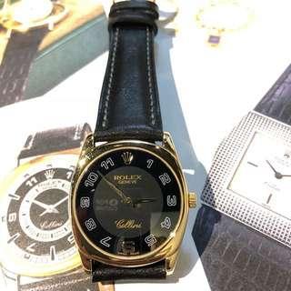 Rolex-Cellini-18K手動上鏈金錶!配全新人手做的真皮皮帶!代用錶皮扣!