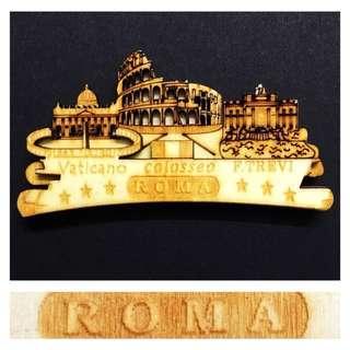 Roma Handmade 3D Fridge Magnet in Wood