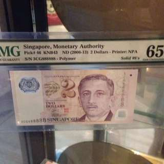 888888 serial number Singapore $2 banknote