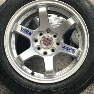 Te37rt 14 inch sports rim saga flx tyre 70%