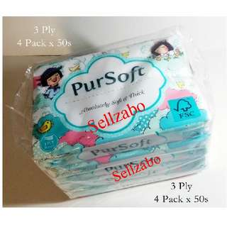 PurSoft Facial Tissue Papers 2 Ply 4 Packs X 50s (200) Sheets Sellzabo Medi Use