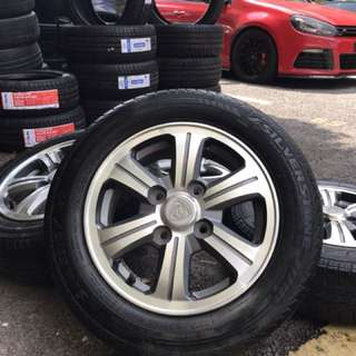 Original proton iriz sports rim 14 inch tyre 70%