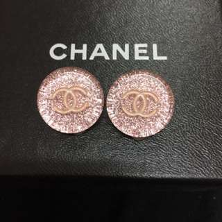 Chanel glittery pink clip on earrings