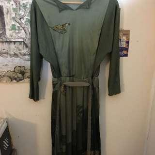 墨綠色古著洋裝