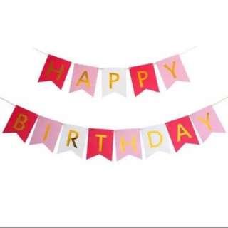 Happy Birthday Banner in Gold Pink / Blue / White / Bright Pink & Purple