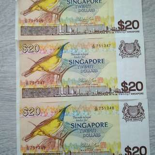 Singapore $20 Bird Series in running numbers
