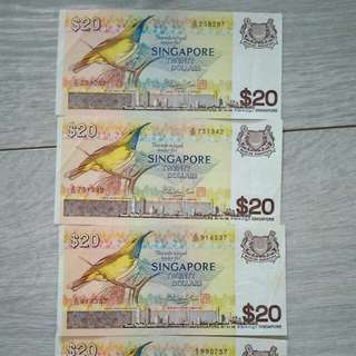 Singapore $20 Bird Series old notes 4pcs