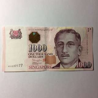 4AJ237177 Singapore Portrait Series $1000 note.