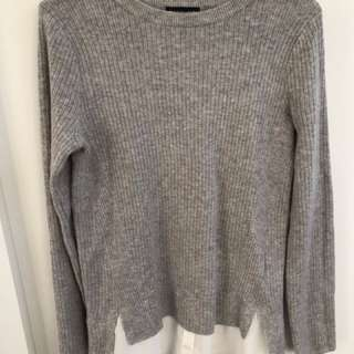 Size 4 Topshop Grey knit Sweater with White Peek-a-boo Blouse