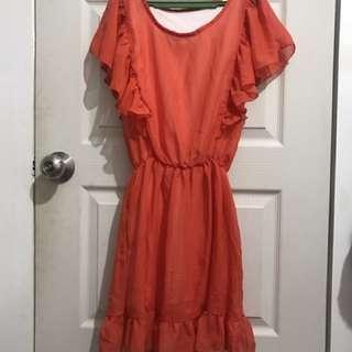 Plains And Prints Orange Ruffled Dress