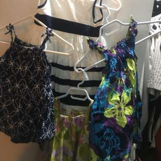 SiZe 4 dresses for girls and blue romper