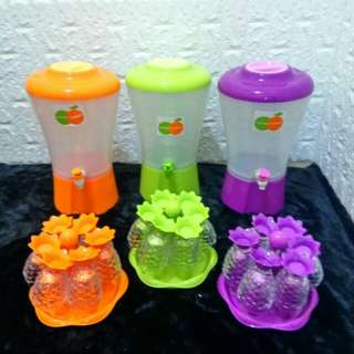 1 set dispenser plus 6 gelas +tatakan
