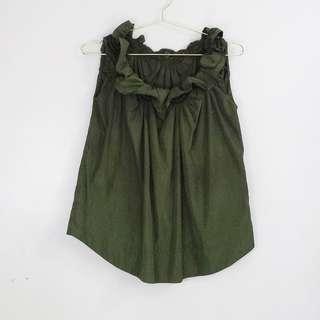 Olive Green Shimmer Collar Design Sleeveless Blouse Top