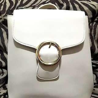 White Soft Leather Korean Backpack
