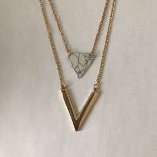 Marble Layered Gold Necklace (pick up only)