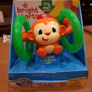 Bright Starts Roll and Glow Monkey toy for babies and toddlers