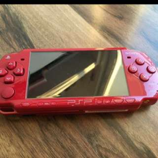 Rare Portable Sony PlayStation PSP 2006 Red game Console Download & Play comes with 2 game disc