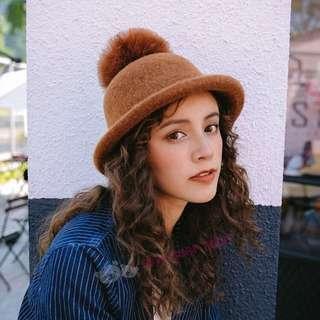 🚚 韓版✨鴕鳥毛球帽 圓帽 小禮帽 漁夫帽 針織帽
