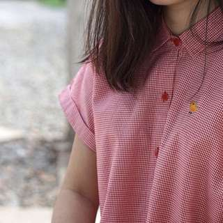 Shirtdress checkered red duck