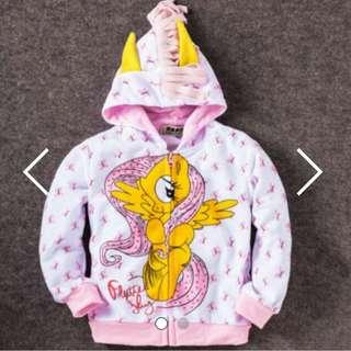 My Little Pony Windbreaker Jacket - Fluttershy White Color Size 150 Age 8 - 9