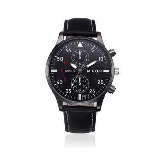 Luxury Leather 'Business Sport' Watch